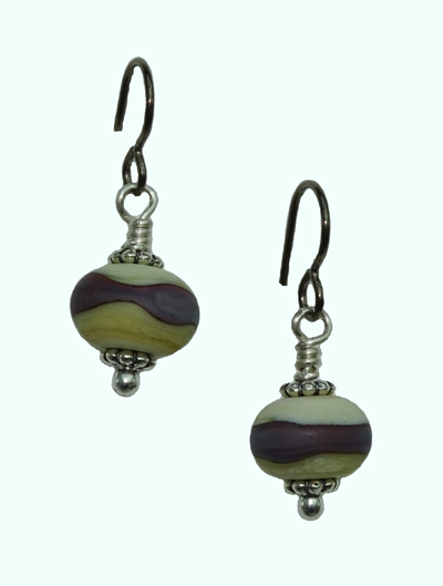 lampwork bead earrings by Candy Wall