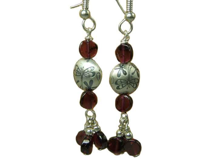 hypoallergenic dragonfly garnet  earrings