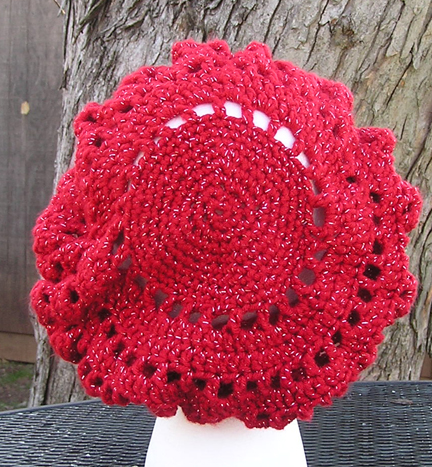 custom eleanor crochet hat in red sparkle