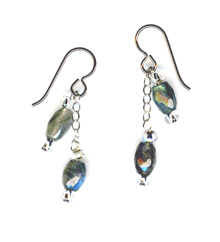 hypoallergenic labradorite bead earrings