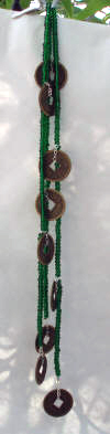 green czech beads with zen coins waterfall hair jewelry