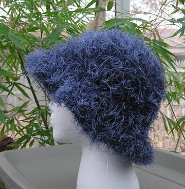 Wild Blue Faux Fur Crochet Hat