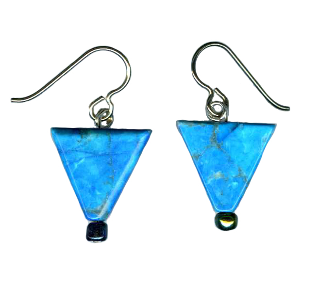 triangular dyed howlite bead earrings