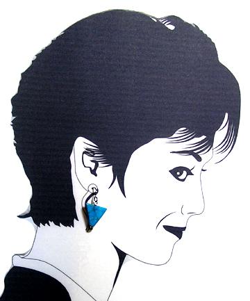 triangular dyed howlite bead earrings