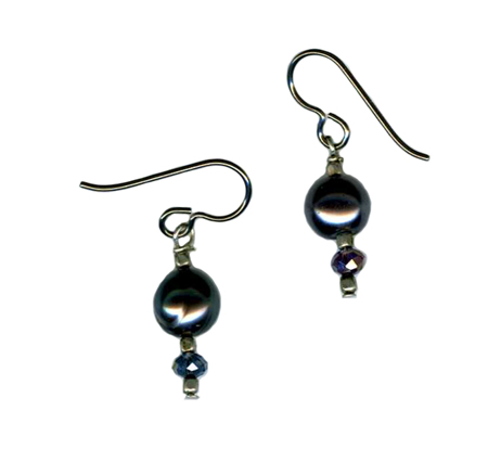 hypoallergenic black pearl earrings