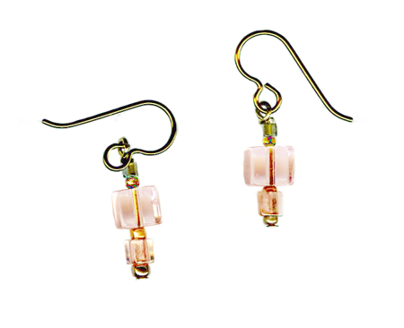 hypoallergenic pink cubic earrings
