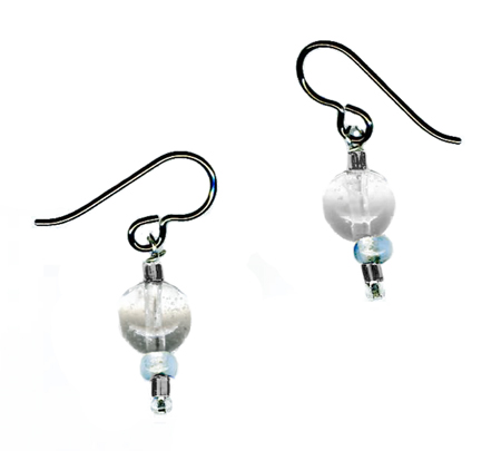 hypoallergenic quartz & vintage mardi grass glass bead earrings