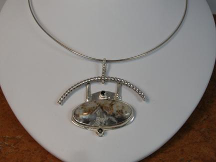 designer lace agate tourmaline pendant