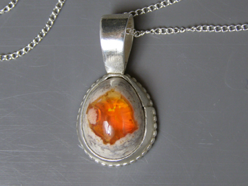 designer mexican fire opal necklace