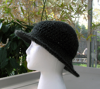 wide brim crochet hat with flower