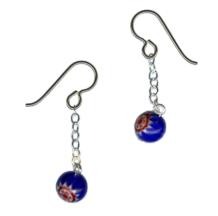 millefiori hypoallergenic earrings