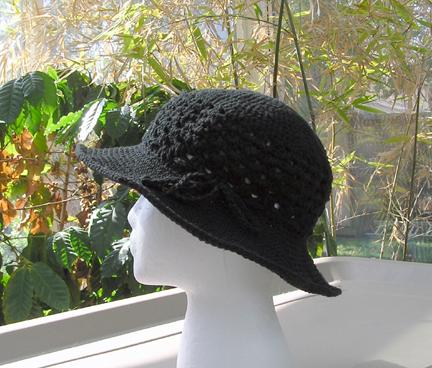 black crochet cotton sun hat
