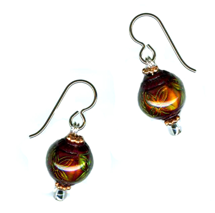 hypoallergenic liquid crystal bead Earrings