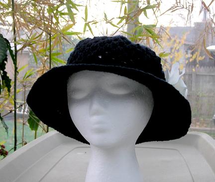 navy crochet cotton sun hat