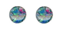 6mm opal mosaic triplet cab titanium post earrings
