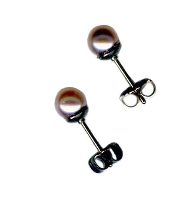 5mm pink pearl titanium post earrings