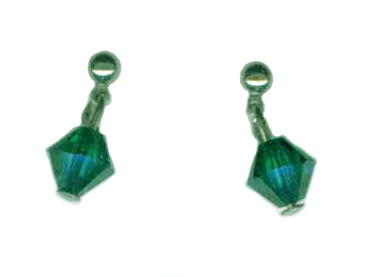 3mm titanium ball post earrings with green Swarovski Crystal drops
