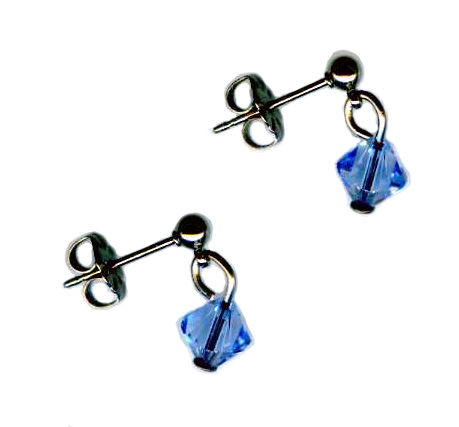 3mm titanium ball post earrings with light blue Swarovski Crystal drops