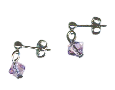 3mm titanium ball post earrings with violet Swarovski Crystal drops