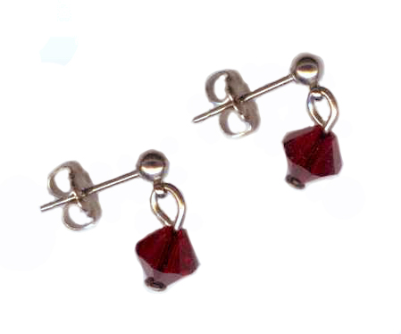 3mm titanium ball post earrings with red Swarovski Crystal drops