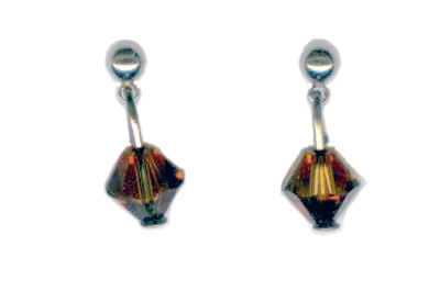 3mm titanium ball post earrings with topaz Swarovski Crystal drops