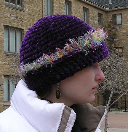 Purple Zing Chenille Crocheted Hat