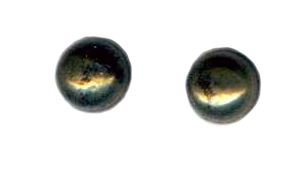 6mm pyrite cab titanium post earrings
