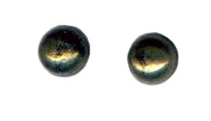6mm pyrite cab titanium post earrings