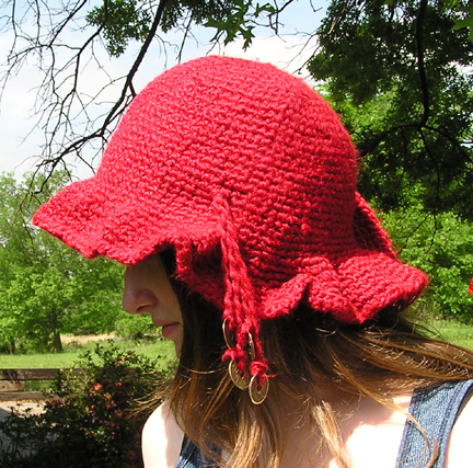 Flamboyant Aussie Crocheted hat side view