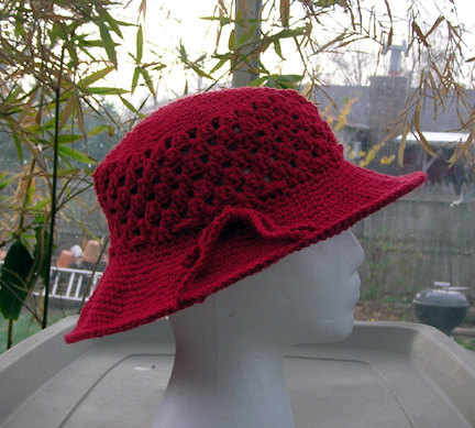 red crochet cotton sun hat