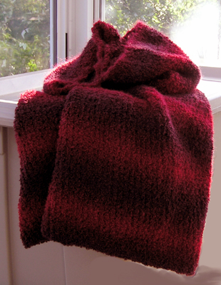 cowl scarf in variegated red