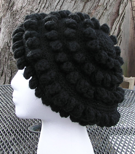 Reggae Beret Crocheted Hat side view