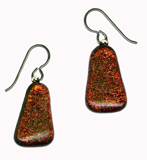 hypoallergenic glass lozenge dichroic bead earrings