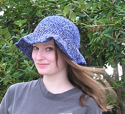 Ribbon handcrafted crocheted hat