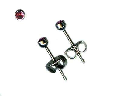 3mm rose crystal titanium post earrings