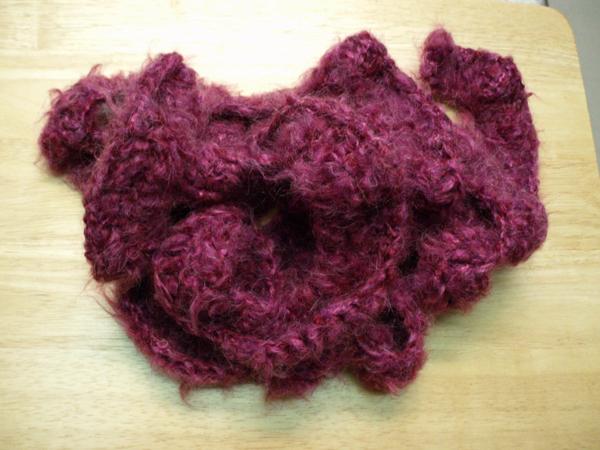 mohair blend crochet scarf