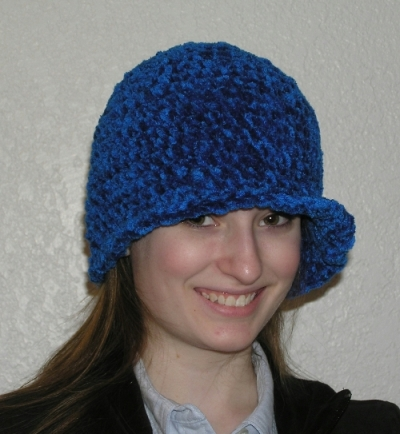 handcrafted chenille flapper style crocheted hat
