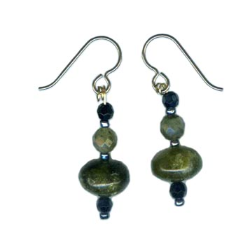 serpentine labradorite onyx earrings