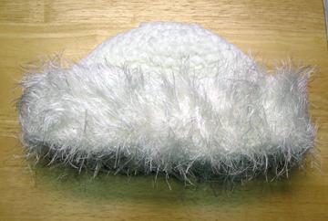 plush winter hat with eyelash yarn brim