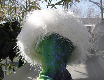 plush winter hat with eyelash yarn brim