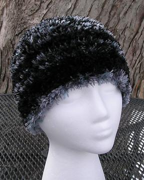 custom patterned faux fur crochet hat