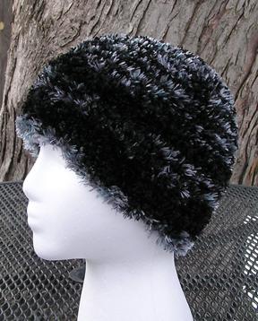 custom patterned faux fur crochet hat side view