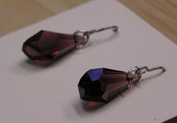 hypoallergenic Swarovski Burgandy Crystal earrings