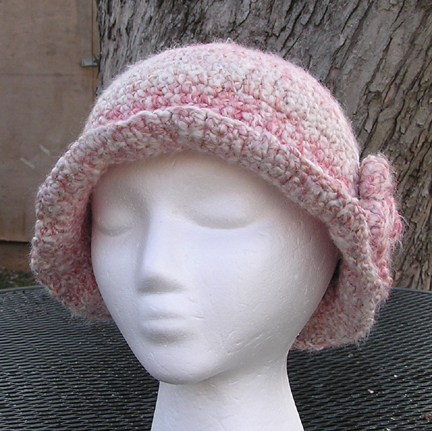 patterned pink flapper hat