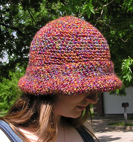 Handcrafted wide brim crocheted hat