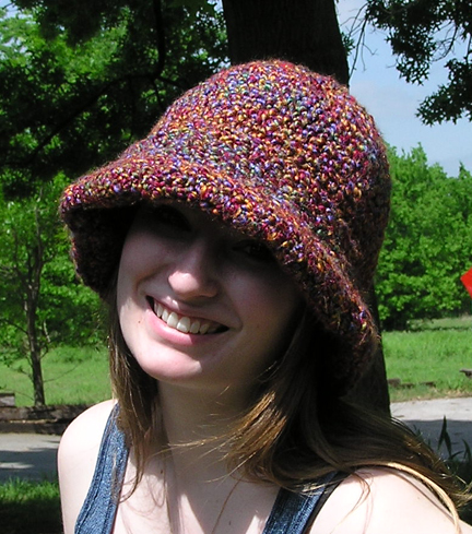 Wide brimmed crocheted hat