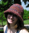 Wide brim hand crafted crocheted hat