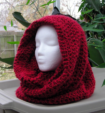 cowl scarf in red