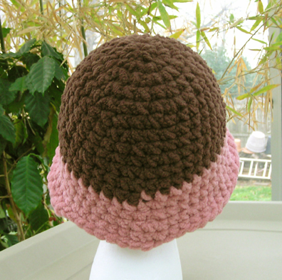 Plush flapper style hand made crocheted hat