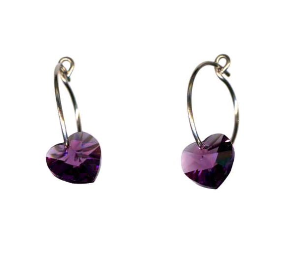 titanium sleeper earrings with amethyst swarovski heart beads